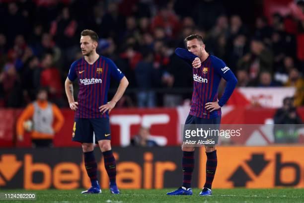 Arthur Melo of FC Barcelona reacts during the Copa del Quarter Final match between Sevilla FC and FC Barcelona at Estadio Ramon Sanchez Pizjuan on...