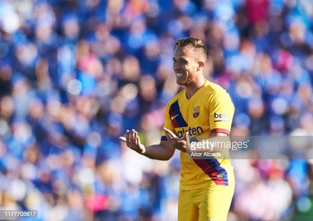 Arthur Melo of FC Barcelona reacts during the Liga match between Getafe CF and FC Barcelona at Coliseum Alfonso Perez on September 28, 2019 in...