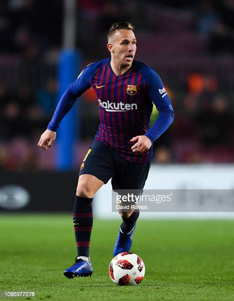 Arthur Melo of FC Barcelona runs with the ball during the Copa del Rey Round of 16 match between FC Barcelona and Levante at Camp Nou on January 17...