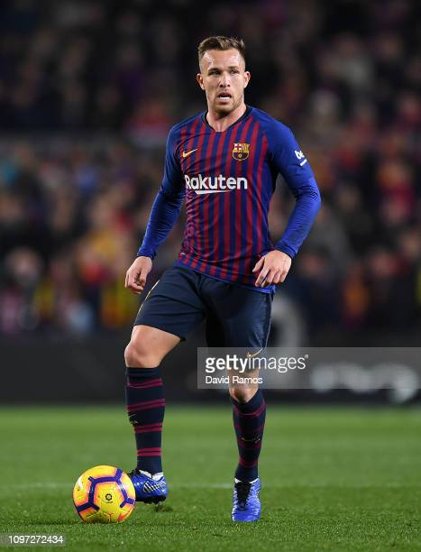 Arthur Melo of FC Barcelona runs with the ball during the La Liga match between FC Barcelona and CD Leganes at Camp Nou on January 20 2019 in...
