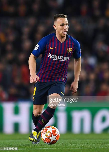 Arthur Melo of FC Barcelona runs with the ball during the UEFA Champions League Quarter Final second leg match between FC Barcelona and Manchester...