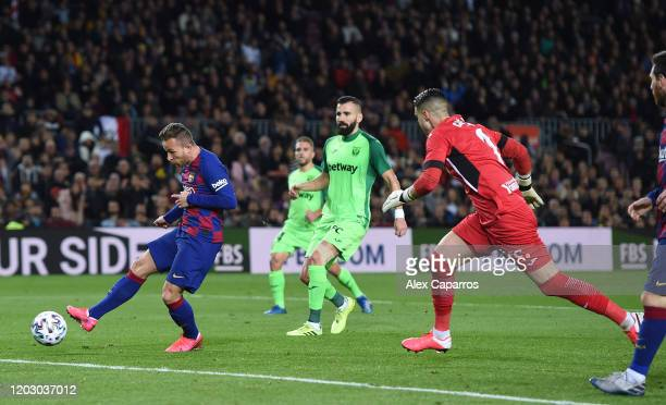 Arthur Melo of FC Barcelona scores the fourth goal during the Copa del Rey Round of 16 match between FC Barcelona and CD Leganes at Camp Nou on...