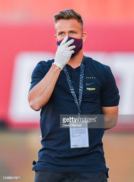 Arthur Melo of FC Barcelona wearing a protective face mask looks on prior to the Liga match between RCD Mallorca and FC Barcelona at Estadio de Son...
