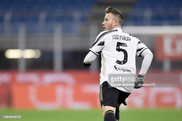 Arthur Melo of Juventus in action during the Serie A match between AC Milan and Juventus at Stadio Giuseppe Meazza on January 06, 2021 in Milan,...