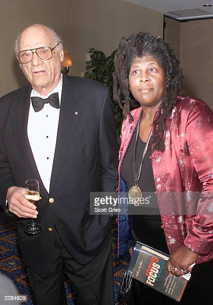 Arthur Miller with award finalist for poetry Wanda Coleman at the 2001 National Book Awards at the Mariott Marquis in New York City 11/14/01 Photo by...