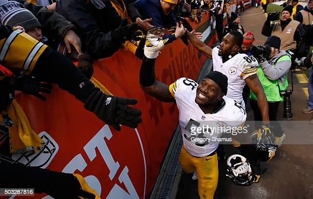 Arthur Moats of the Pittsburgh Steelers celebrates after a 2812 win over the Cleveland Browns at FirstEnergy Stadium on January 3 2016 in Cleveland...