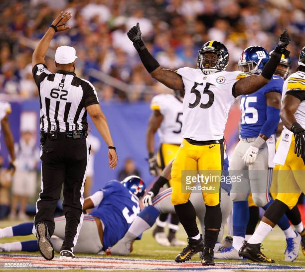 Arthur Moats of the Pittsburgh Steelers celebrates his sack of quarterback Geno Smith of the New York Giants during the fourth quarter of an NFL...