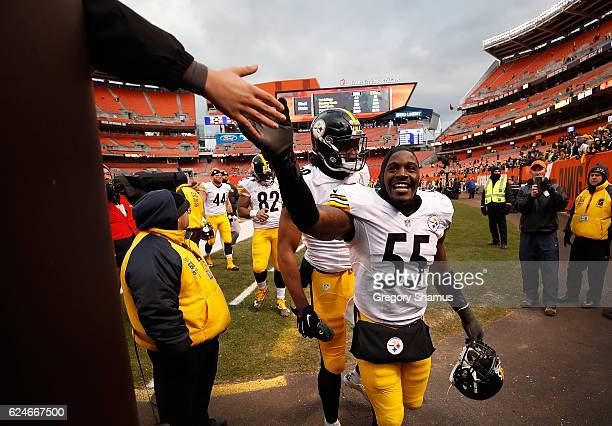 Arthur Moats of the Pittsburgh Steelers celebrates with fans after a 249 win over the Cleveland Browns at FirstEnergy Stadium on November 20 2016 in...