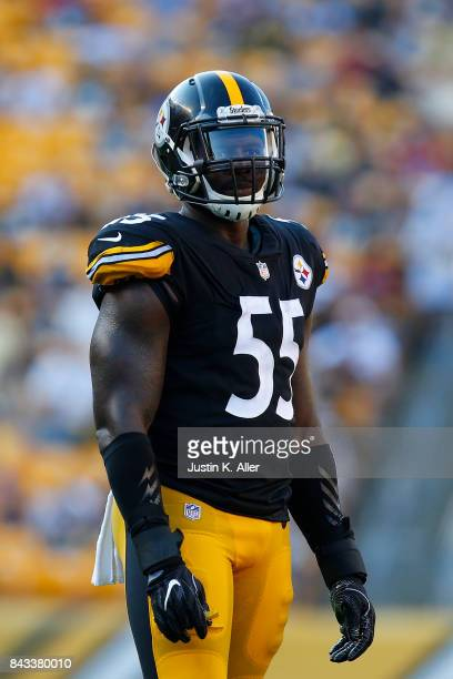 Arthur Moats of the Pittsburgh Steelers in action during a preseason game against the Atlanta Falcons at Heinz Field on August 20 2017 in Pittsburgh...
