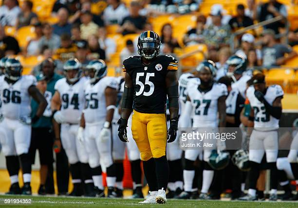 Arthur Moats of the Pittsburgh Steelers in action during the game against the Philadelphia Eagles on August 18 2016 at Heinz Field in Pittsburgh...