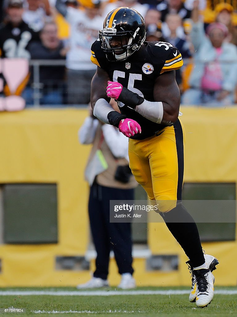 Arthur Moats #55 of the Pittsburgh Steelers reacts after a defensive stop in the first half during the game against the New England Patriots at Heinz Field on October 23, 2016 in Pittsburgh, Pennsylvania.