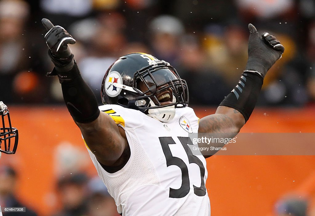 Arthur Moats #55 of the Pittsburgh Steelers reacts after sacking Cody Kessler #6 of the Cleveland Browns (not pictured) during the second quarter at FirstEnergy Stadium on November 20, 2016 in Cleveland, Ohio.