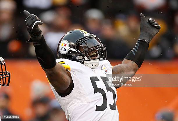 Arthur Moats of the Pittsburgh Steelers reacts after sacking Cody Kessler of the Cleveland Browns during the second quarter at FirstEnergy Stadium on...