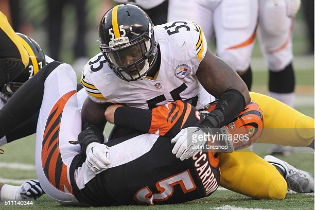 Arthur Moats of the Pittsburgh Steelers sacks AJ McCarron of the Cincinnati Bengals during their game at Paul Brown Stadium on December 13 2015 in...