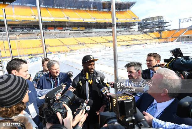 Arthur Moats of the Pittsburgh Steelers speaks with the media prior to the 2017 Coors Light NHL Stadium Series at Heinz Field on February 22 2017 in...
