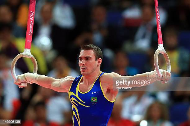 Arthur Nabarrete Zanetti of Brazil competes on the Artistic Gymnastics Men's Rings on Day 10 of the London 2012 Olympic Games at North Greenwich...