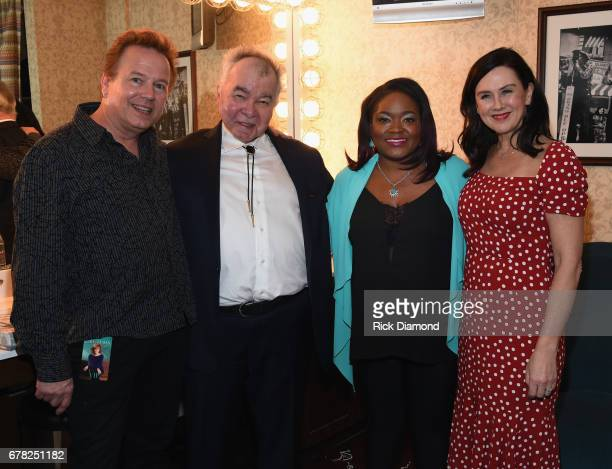 Arthur Neilson, John Prine, Shemekia Copeland and Fiona Whelan Prine backstage during Love Letters: Thistle Farms Turns 20 at the Ryman Auditorium on...