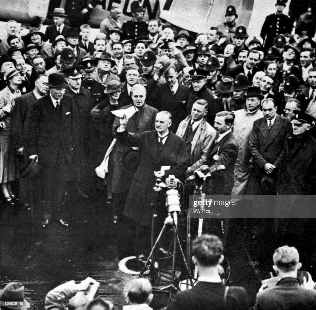 Chamberlain Arrives Back In Britain After Signing Of The Munich