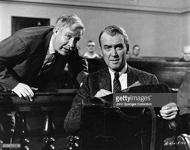 Arthur O'Connell and James Stewart are lawyers discussing trial strategy in Anatomy of a Murder