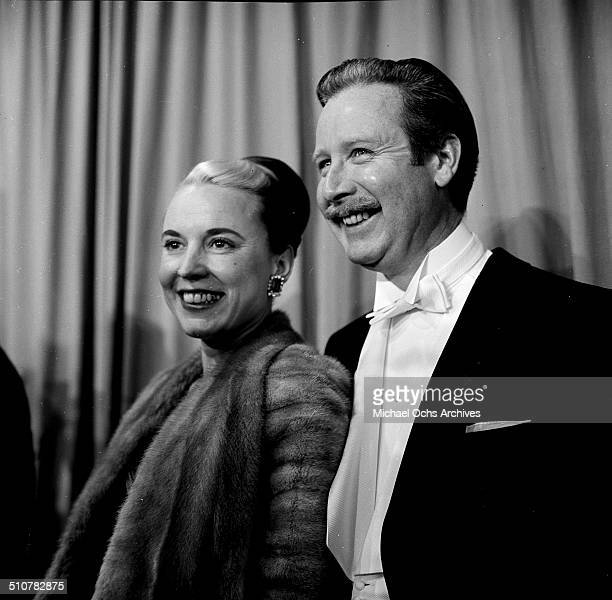 Arthur O'Connell and wife Ann Hall Dunlop attend an event at Mocambo's in Los AngelesCA