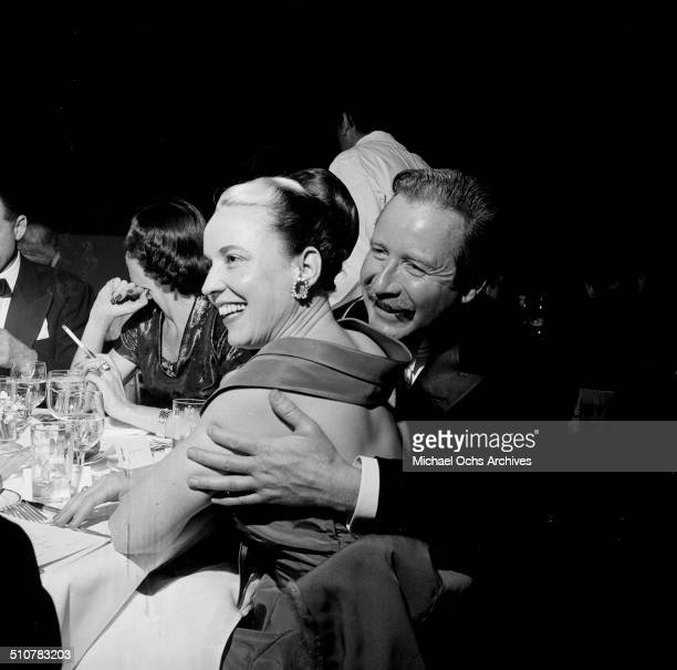 Arthur O'Connell and wife Ann Hall Dunlop attend the Academy Awards dinner in Los AngelesCA