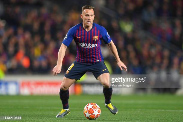 Arthur of Barcelona in action during the UEFA Champions League Quarter Final second leg match between FC Barcelona and Manchester United at Camp Nou...