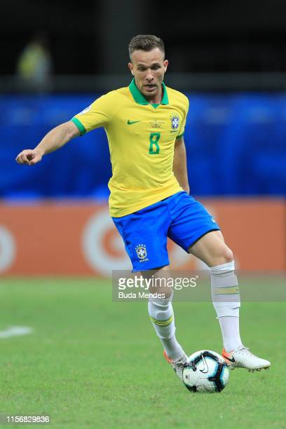 Arthur of Brazil controls the ball during the Copa America Brazil 2019 group A match between Brazil and Venezuela at Arena Fonte Nova on June 18 2019...