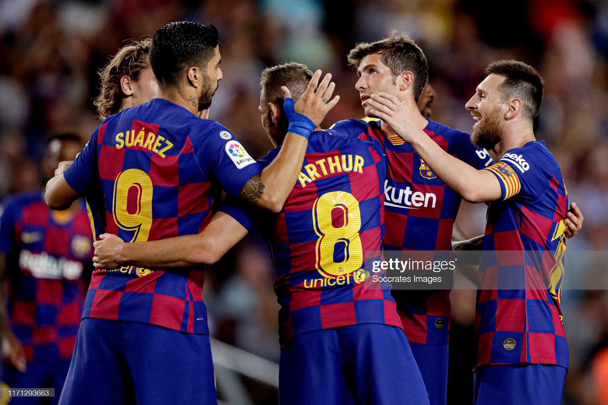 صور مباراة : برشلونة - فياريال 2-1 ( 24-09-2019 )  Arthur-of-fc-barcelona-celebrates-20-with-antoine-griezmann-of-fc-picture-id1171293663?s=2048x2048