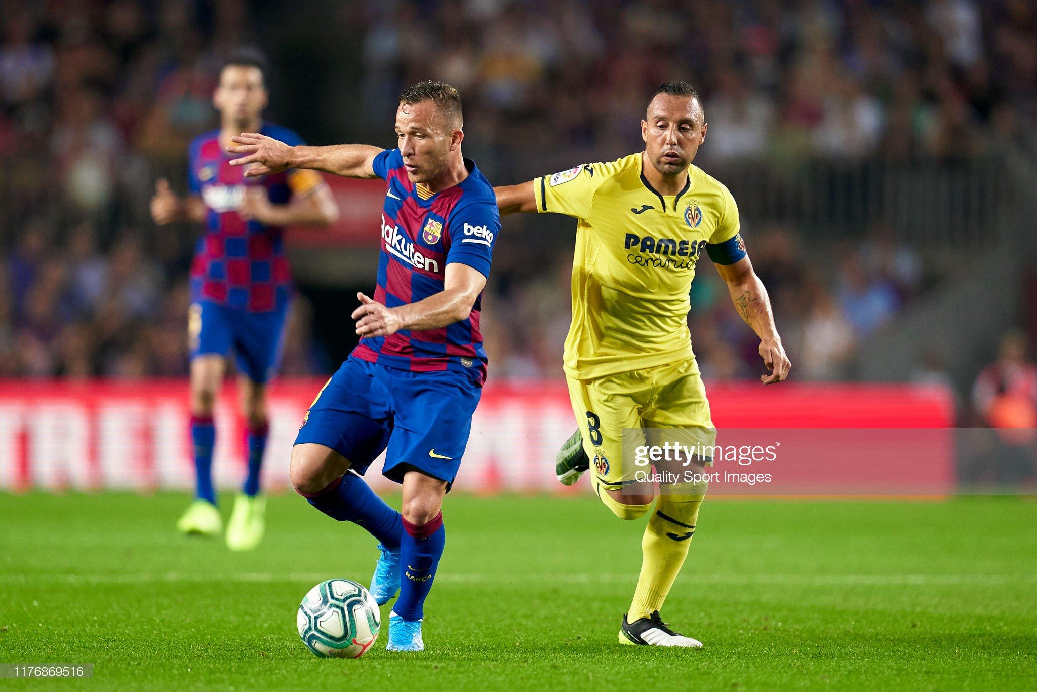 صور مباراة : برشلونة - فياريال 2-1 ( 24-09-2019 )  Arthur-of-fc-barcelona-competes-for-the-ball-with-santi-cazorla-of-picture-id1176869516?s=2048x2048