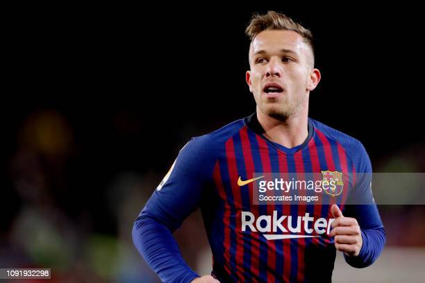 Arthur of FC Barcelona during the Spanish Copa del Rey match between FC Barcelona v Sevilla at the Camp Nou on January 30 2019 in Barcelona Spain