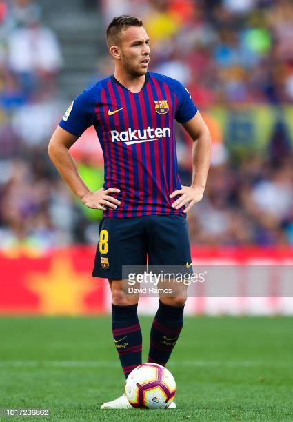 Arthur of FC Barcelona looks on during the Joan Gamper Trophy match between FC Barcelona and Boca Juniors at Camp Nou on August 15 2018 in Barcelona...