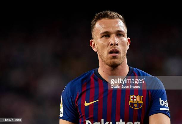 Arthur of FC Barcelona looks on during the La Liga match between FC Barcelona and Rayo Vallecano de Madrid at Camp Nou on March 09 2019 in Barcelona...