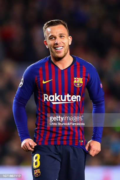 Arthur of FC Barcelona looks on during the UEFA Champions League Group B match between FC Barcelona and Tottenham Hotspur at Camp Nou on December 11...