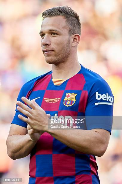 Arthur of FC Barcelona looks on prior to the Joan Gamper Trophy match between FC Barcelona and Arsenal at Nou Camp on August 04 2019 in Barcelona...