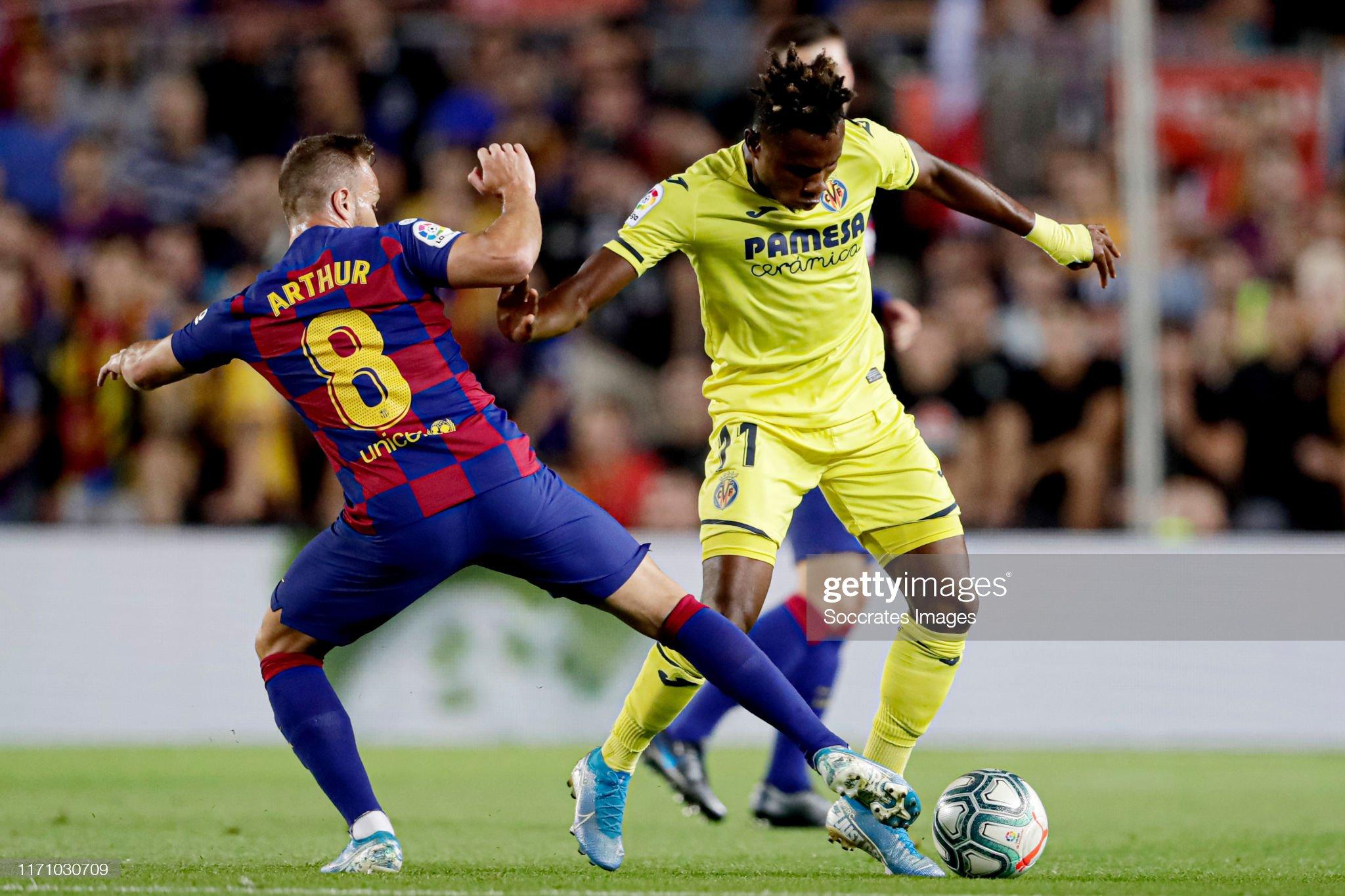 صور مباراة : برشلونة - فياريال 2-1 ( 24-09-2019 )  Arthur-of-fc-barcelona-samuel-chukwueze-of-villarreal-during-the-la-picture-id1171030709?s=2048x2048