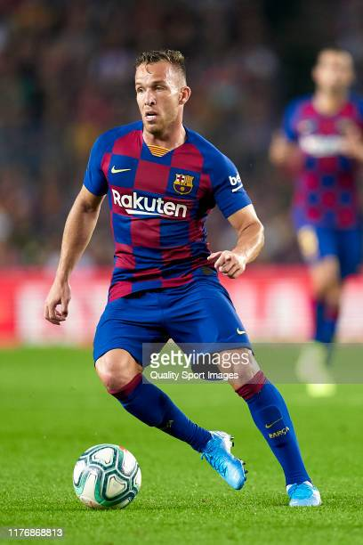 Arthur of FC Barcelona with the ball during the Liga match between FC Barcelona and Villarreal CF at Camp Nou on September 24, 2019 in Barcelona,...