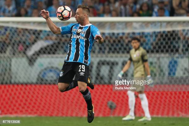 Arthur of Gremio controls for the ball during a first leg match between Gremio and Lanus as part of Copa Bridgestone Libertadores 2017 Final at Arena...