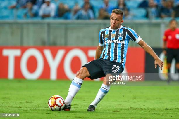 Arthur of Gremio during the match between Gremio and Monagas part of Copa Libertadores 2018 at Arena do Gremio on April 04 in Porto Alegre Brazil