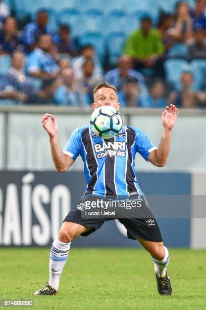 Arthur of Gremio during the match between Gremio and Sao Paulo as part of the Brasileirao Series A 2017 at Arena do Gremio on November 15 in Porto...