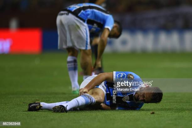 Arthur of Gremio reacts after receiving a foul during the second leg match between Lanus and Gremio as part of Copa Bridgestone Libertadores 2017...