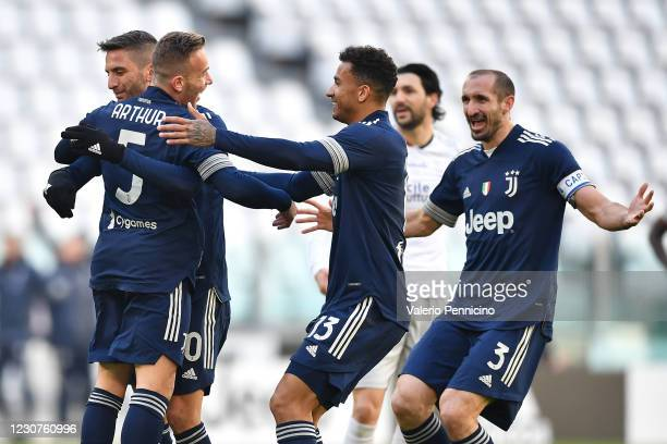 Arthur of Juventus celebrates the opening goal with team mates during the Serie A match between Juventus and Bologna FC at Allianz Stadium on January...