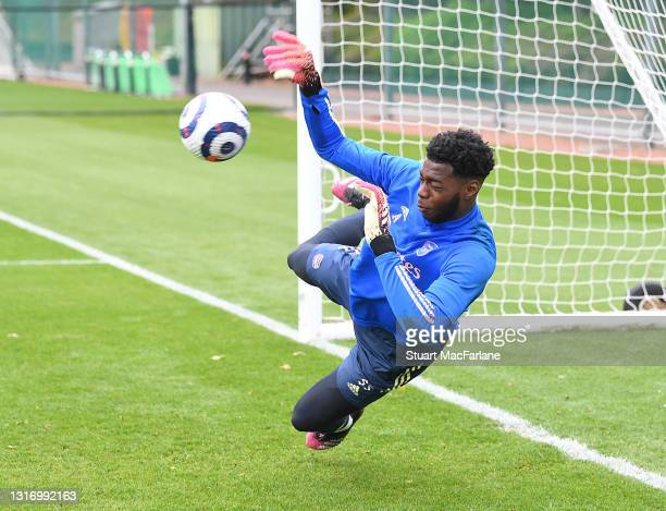 Arthur Okonkwo of Arsenal during a training session at London Colney on May 08, 2021 in St Albans, England.