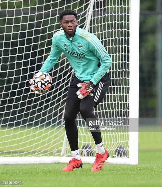 Arthur Okonkwo of Arsenal during a training session at London Colney on July 30, 2021 in St Albans, England.