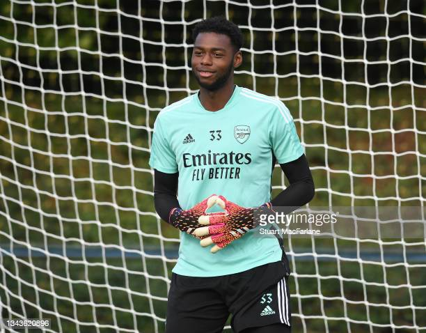 Arthur Okonkwo of Arsenal during a training session at London Colney on September 28, 2021 in St Albans, England.