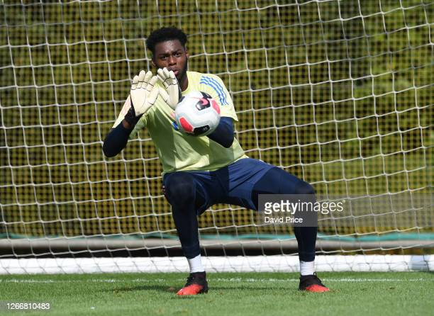 Arthur Okonkwo of Arsenal during the Arsenal U23 training session at London Colney on August 17, 2020 in St Albans, England.