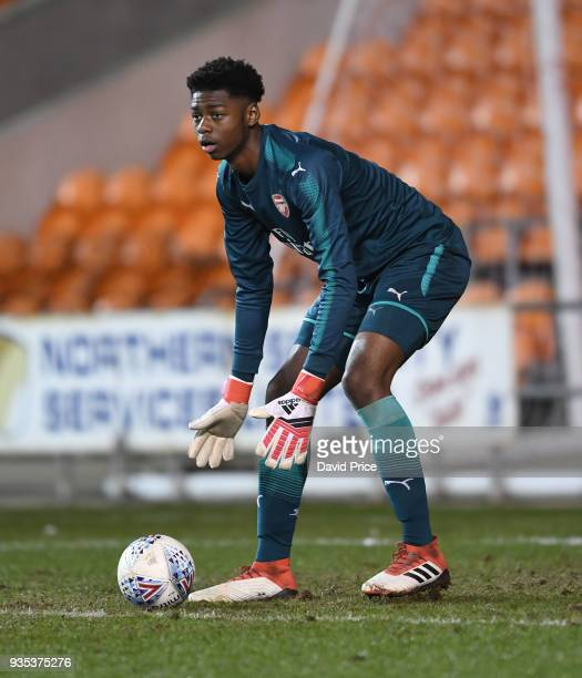 Arthur Okonkwo of Arsenal during the match between Blackpool and Arsenal at Bloomfield Road on March 20 2018 in Blackpool England