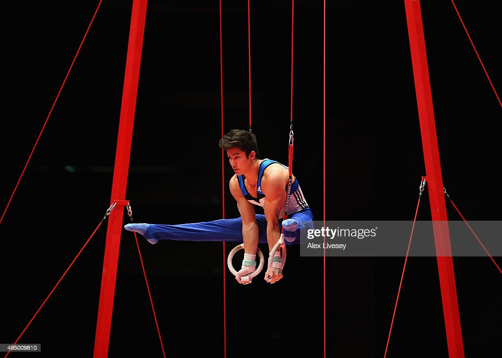 Arthur Oyakawa Mariano of Brazil competes in the Rings during day eight of the 2015 World Artistic Gymnastics Championships at The SSE Hydro on October 30, 2015 in Glasgow, Scotland.