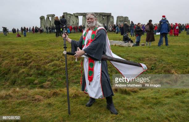 Arthur Pendragon Druid and selfappointed king at Stonehenge in Wiltshire on the winter solstice to witness the sunrise after the longest night of the...