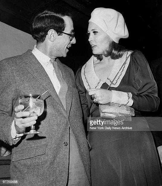 Arthur Penn with Faye Dunaway in her Bonnie and Clyde style at a party for Costume Designers at Salvation in Sheridan Square