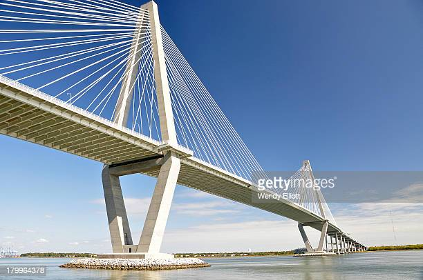 Arthur Ravenel Jr Bridge, Charleston Harbour, South Carolina. A cable-stayed bridge above the Cooper River.